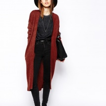 Long cardigan rouille